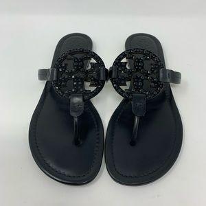 Tory Burch Miller Embellished Leather Sandal, 10